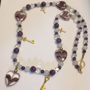 Glass hearts 💕 spiritual cross ✝️ charms necklace